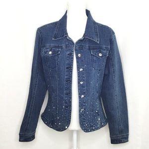 Christine Alexander Blue Jean jacket with crystals